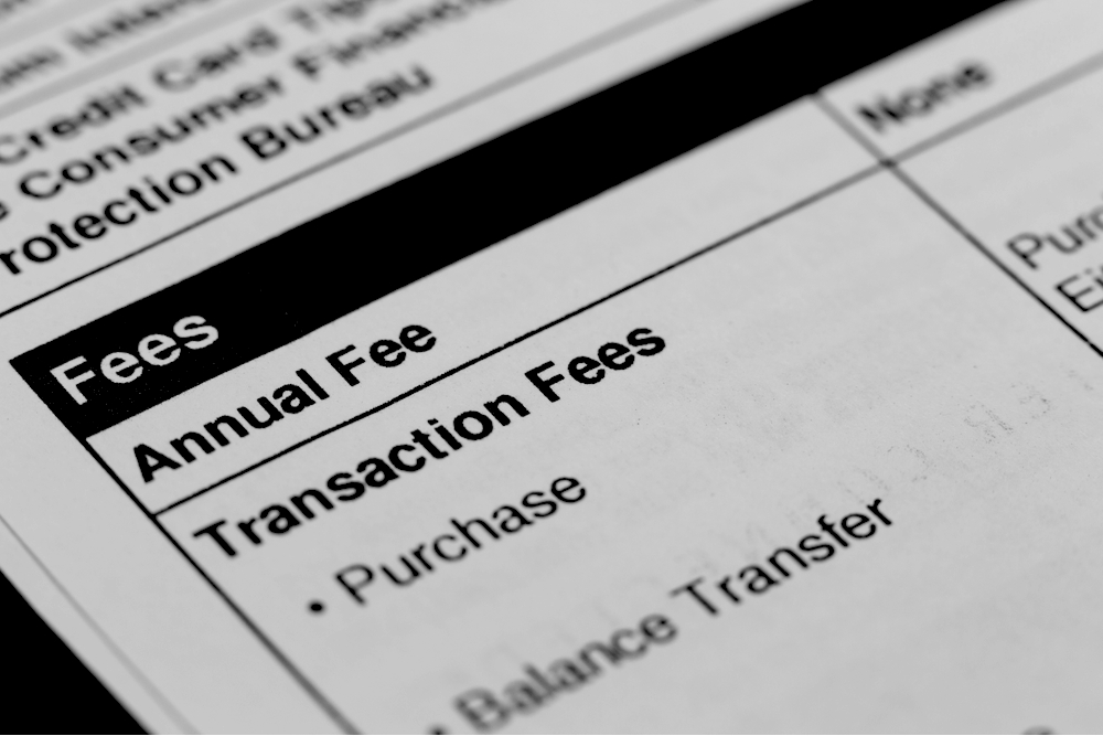 transaction fees on a credit balance