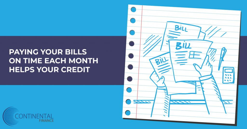 paying your bills on time each month helps your credit